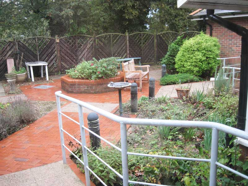 Enclosed garden with raised beds